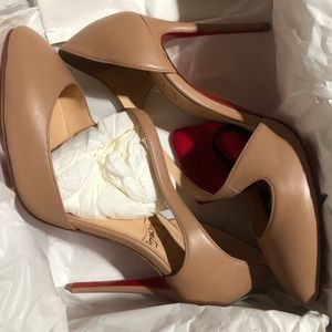 Christian Louboutin Catchy One 100mm Nude Pumps